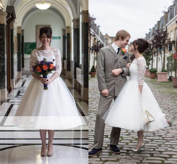 best selling Modest short Lace Tulle skirt country Wedding Dresses 2019 Vintage 3 4 Long Sleeves Tea-Length Zipper Back Short Wedding Bridal Dresses