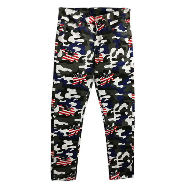 ABOORUN New Mens Fashion Camou Denim Pants US Flag Printed Jeans Mens Hip Hop Jeans Trousers x1005