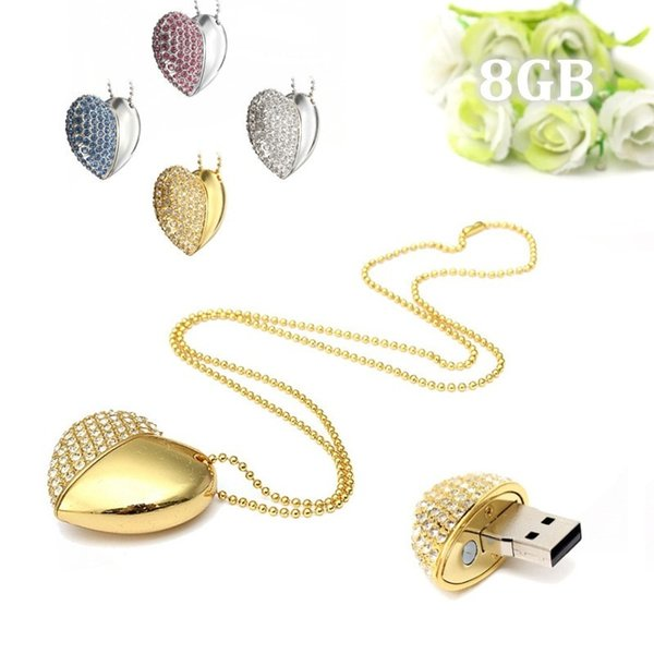 best selling Crystal Heart pedant necklace 16GB USB 2.0 Flash Drives Enough Memory Sticks Flash Pen Drive for PC Laptop Macbook Tablet Multicolor u31