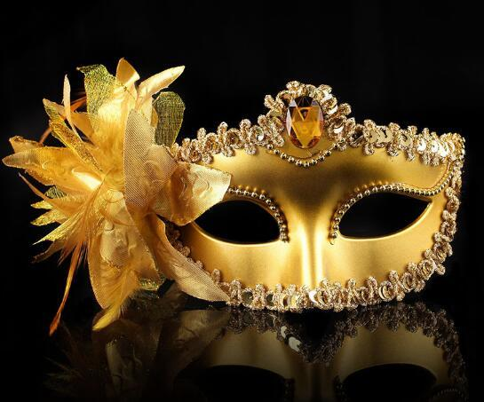 NEW SALE Italy Venice Shiny Masks Flashing Princess Mask Dance Mask Side Plating Mask pointed with flower Rhinestone Masks 20pcs/lot