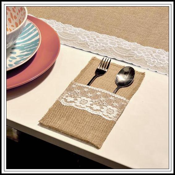 Вилка нож мешковины держатель старинные джутовые кружева посуда сумка для свадьбы украшения вилка держатель ножа карман CCA10133 600 шт.