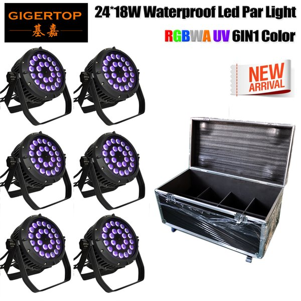 Freeshipping 6IN1 Road Case Pack Stage Lighting Par Light 24x18W LED RGBWAP 6/10 Channel for DJ KTV Disco Party Bar (6 PC) 110V-220V