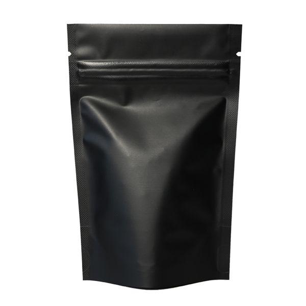 100pcs thermosoudable Zip Serrure Paquet Sacs Papier Aluminium Mylar Déchirure Déchirure Noir Mat Debout Sac En Gros