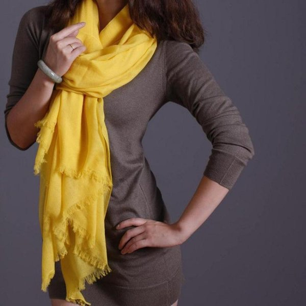 Winter New Shawl Lady Shawls Yellow Cashmere Scarves Solid Large Size Mujer Bufanda 100%Wool Wrap Muffler Scarf Thick