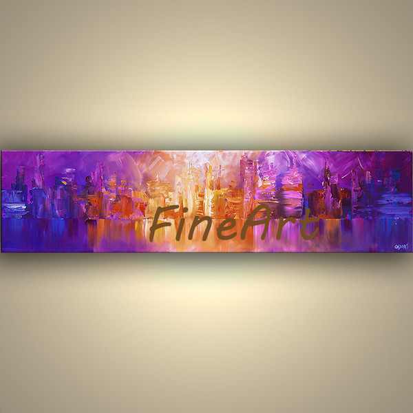 hand-painted on canvas new york city canvas art palette knife textured oil painting discount wall decor quotes canvas set decoration paintin
