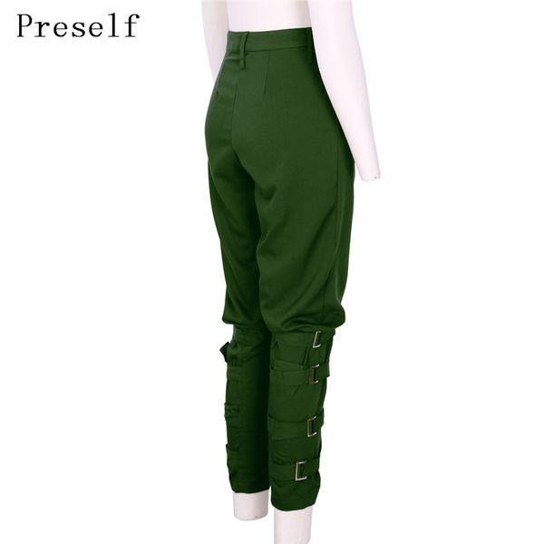 Preself Harem Pants Women Girls Army Green Black Pant Button Design Fashion High Quality Celeb Leisure Trousers Casual Plus Size