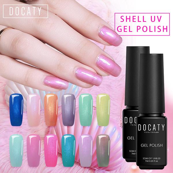 Docaty Glitter Pearl Color Gel Varnish UV Shell Nail Polish DIY Art Design Natural Nail Material Acrylic Paints for Nails