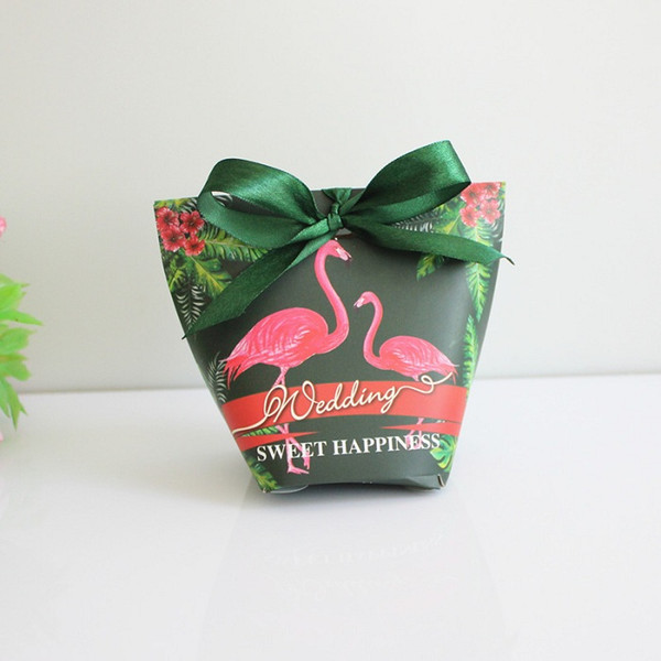 candy box bag chocolate paper gift package for Birthday Wedding Party favor Decor supplies DIY baby shower flamingo/green design