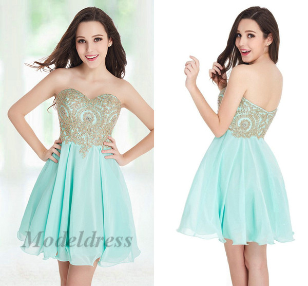 Mint Green Homecoming Dresses Strapless A Line Chiffon Knee Length Zipper Back Gold Lace Appliques Short Prom Party Dresses New Arrival