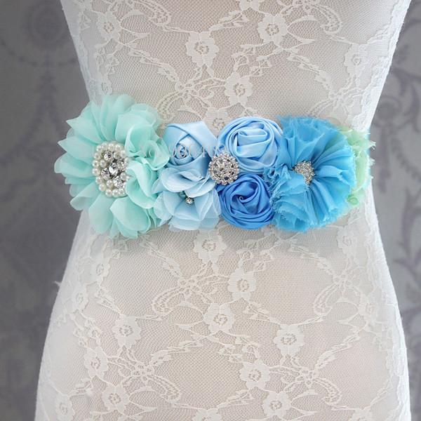 Fashion Blue flower Belt,Girl Woman Sash Belt Wedding Sashes belt with flower headband 1 SET