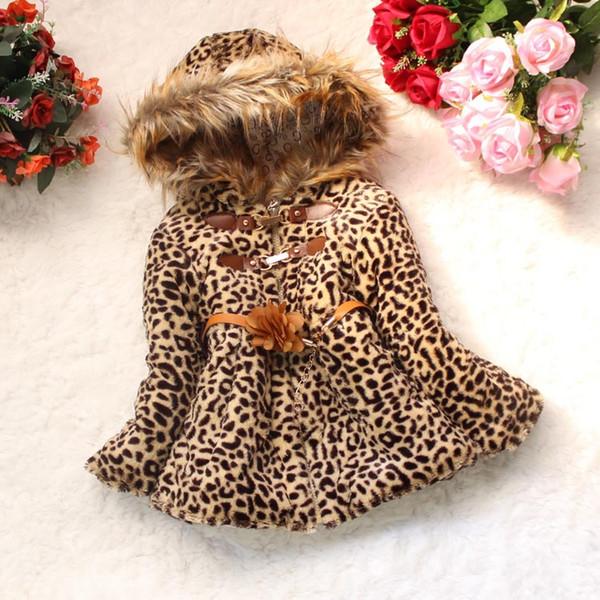Vieeoease Girls Coat Leopard Kids Clothing 2018 Autumn Fashion Long Sleeve Print Fur Bow Coat EE-735