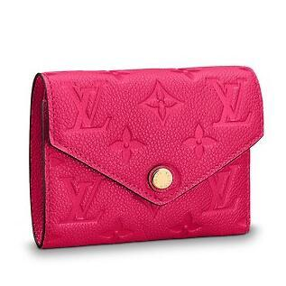 M62554 VICTORINE WALLET Embossing rose red Real Caviar Lambskin Chain Flap Bag LONG CHAIN WALLETS KEY CARD HOLDERS PURSE CLUTCHES EVENING