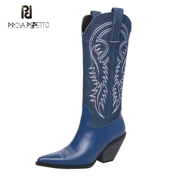 Prova Perfetto 2018 new cowboy boots women pointed toe chunky hight heel knight boots embroider retro style lady knee high