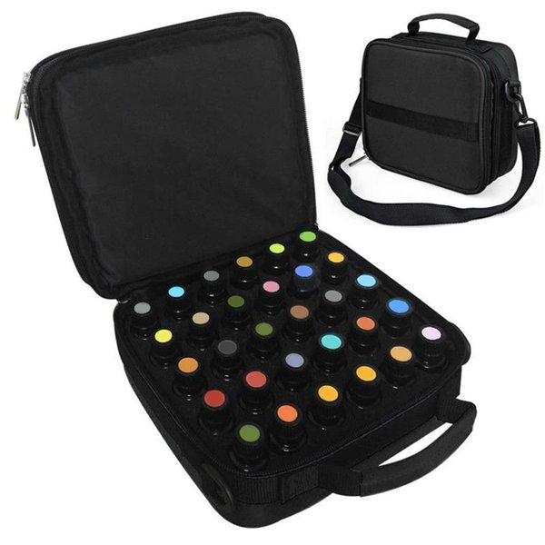 AFBC 42 Bottles Essential Oil Carrying Case Make Up Storage Bag For Traveling Sturdy Double Zipper Cosmetic Bag