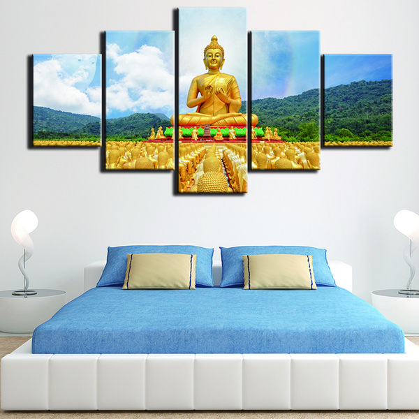 HD Wall Art 5 Set Buddha Landscape Prints Pictures Classic Canvas Painting Frame Poster Modular Home Restaurant Decor House Painting
