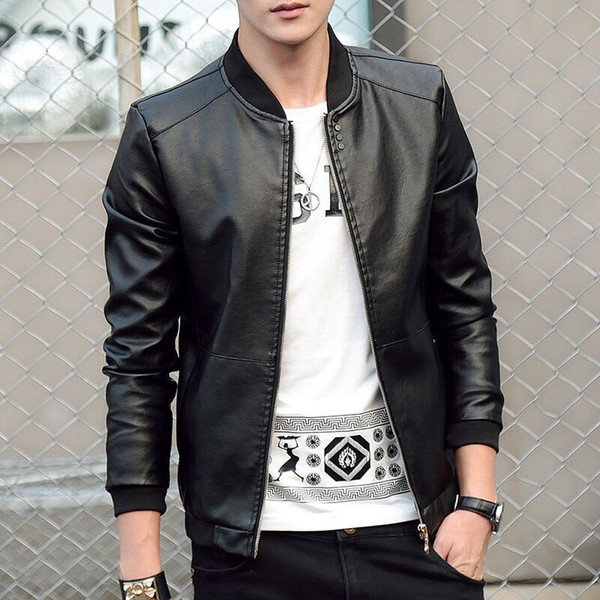 Spring and Autumn Men's Baseball Collar Solid Color Slim Casual PU Leather Jacket Youth Simple Large Size