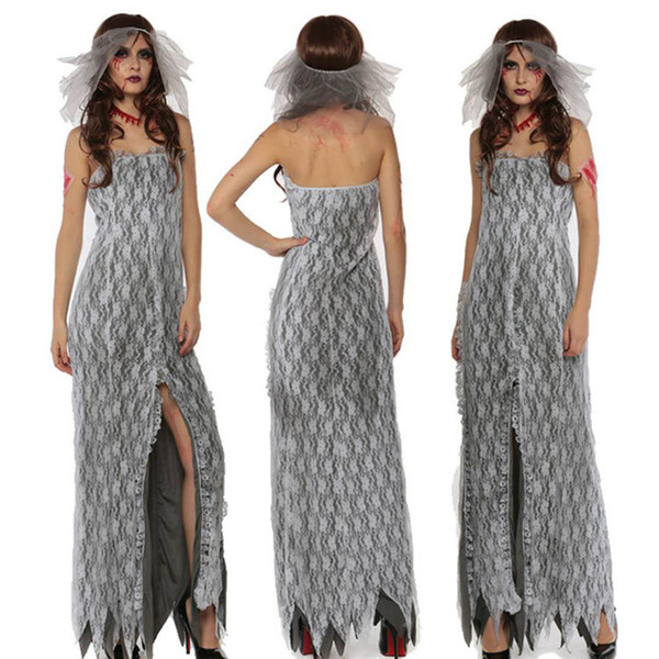 Sexy White Vampire Costume Halloween Horror Lady Carnival Lady Zombie Dress Adult Masquerade Costume