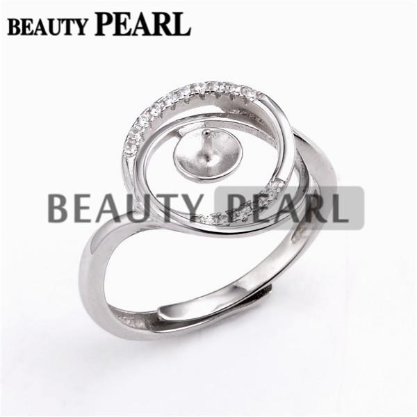 Zircon Encircled Ring Pearl Mountings 925 Sterling Silver Blanks Jewelry Making DIY Pearl Ring 5 Pieces