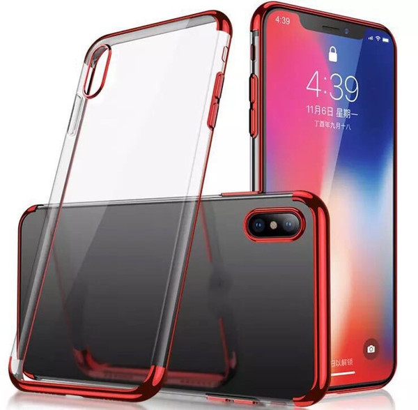 Transparent Electroplate Phone Case for iPhone 9 Against Falling Silicone Protective Cover For iPhone XS 6 7 8