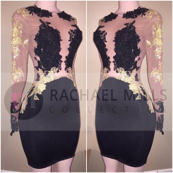 2020 New Sexy Black Cheap Short Cocktail Dresses Long Illusion Sleeves Gold Applique Mini Sheath Short Prom Party Evening Dresses For Women