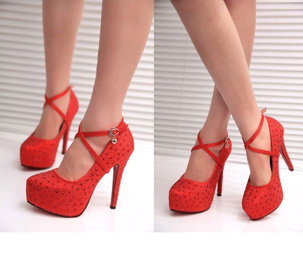 Hot Style European And American Stars With The Same Water Drill Heels Waterproof Platform High Heel Bridal Shoes Women's Shoes
