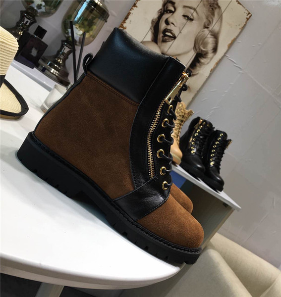 Buckled Ankle Boots For Womens Side Zip Lace-Up Leather Boots Suede Low Heel Round Toe Gold-Tone Hardware Martin Shoes Luxury Brand 38