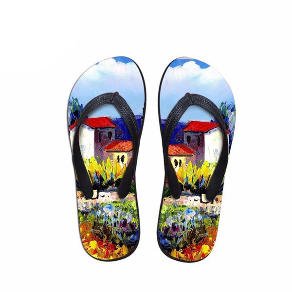 wholesale 2018 Fashion Slippers Women 3D Painting Prints women Flip Flops Summer Non-slip Beach lady Sandals Flats Female