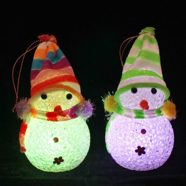Colorful crystal particles Christmas snowman night light LED luminous toy santa lamp Christmas gift