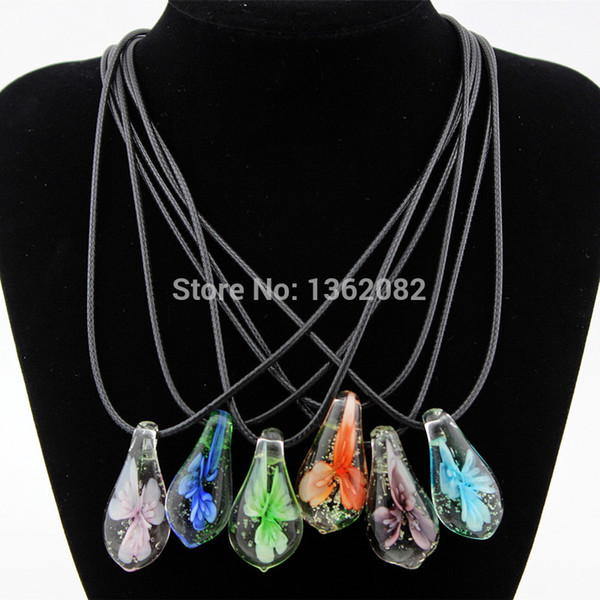 charming flower noctilucent lampwork glass pendants drop murano glass necklace choker for girl women's jewelry mn568, Black