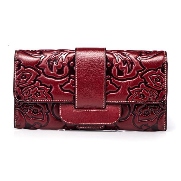 Top-Qualität aus echtem Leder Frauen Clutch Bag handliche Geldbörse chinesischen Stil Multi-Karten-Mode-Geld-Clip Münze geprägte lange Brieftasche