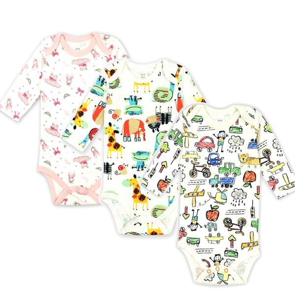 3 adet / grup Bebek Bodysuit Yenidoğan Pamuk Vücut Bebek Karikatür Uzun Kollu Iç Çamaşırı Bebek Kız Giysileri bebeğin Setleri 100% Pamuk