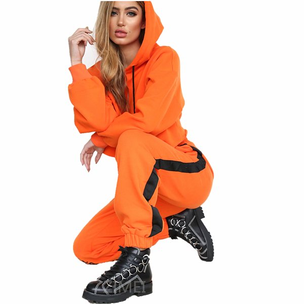 OLN 2018 Women Two Piece Set Hoodies Sweatshirt and Pant Female Casual Solid Fitness Sportswear Set Fall 2 Piece Crop Top