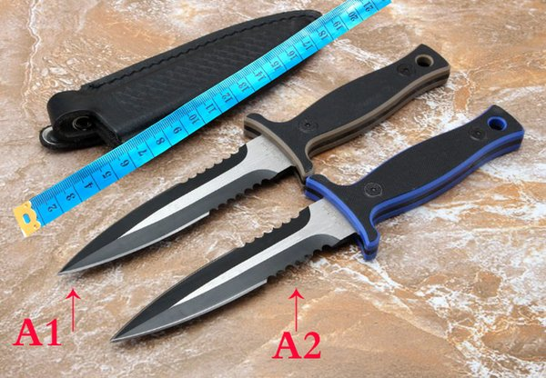 wholesale 2 NEW MODELS Multi function straight knife outdoor camping tool for cutters and leather suits hight quality free shipping