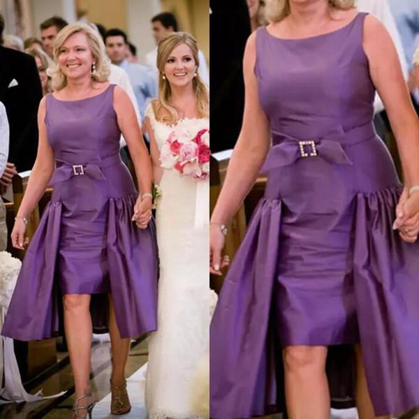 Elegant 2018 Purple Taft kurze Mutter der Braut Kleider mit Bogen Schärpe Falten Tee Länge formale Kleider plus Größe nach Maß EN1209