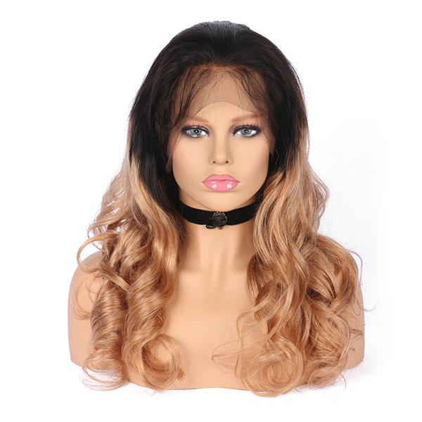 Attracive 100% unprocessed raw virgin remy human hair long #1bt27 ombre color body wave full lace cap wig for girl