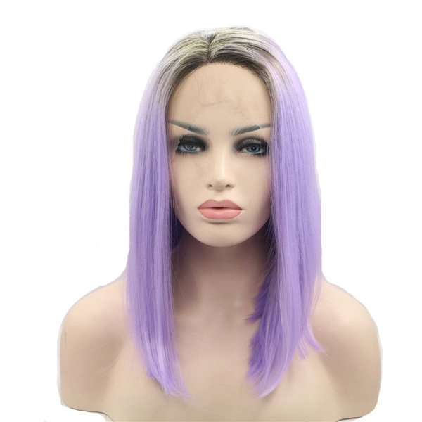 Short Bob Ombre Purple Wig Two Tones Color Short Straight Synthetic Lace Front Wigs For Women High Temperature Fiber Synthetic Hair Wig