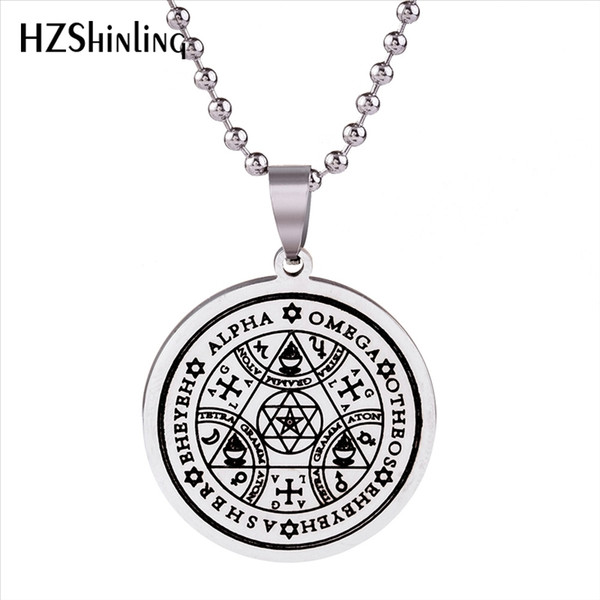 2018 New Stainless Steel Jewelry Sigil Magic Wicca Pendant Seals Of The Seven Archangels Necklace Wiccas Pendants Silver SS-007