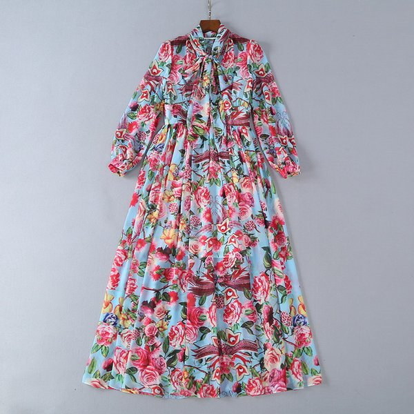 2018 Ladies Luxury Peony Floral Print Ribbon Tied Bow Round Neck Madi Dresses Women Long Sleeve Fashion Runway Dresses 180622
