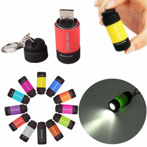 New 0.5W Mini Keychain Pocket Torch USB Rechargeable LED Light Flashlight Lamp 0.3W 25Lm Multicolor Mini-Torch GGA222 50PCS