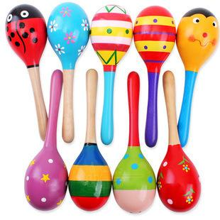 Hot Sale Baby Wooden Rattle toy wooden Maracas Sand Hammer Preschool toys Baby Toddler Toys Cartoon Color Pattern