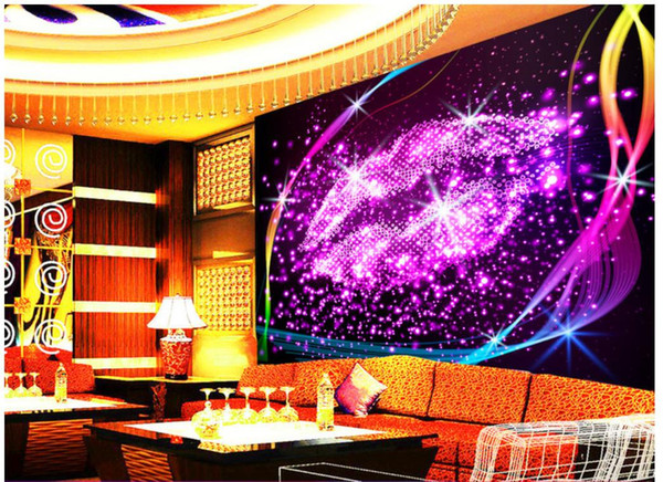 Custom 3d wallpaper for walls 3d photo wallpaper murals Bar KTV Dream Crystal Lipstick Background Wall Paper Murals for entertainment venues