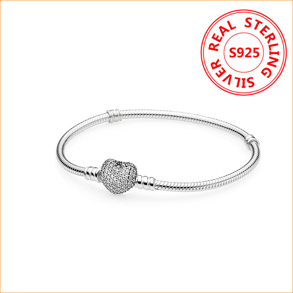 top popular Authentic 925 Sterling Silver Heart Charms Bracelet For Pandora European Beads Bangle Wedding Gift Jewelry for Women with Original box 2021
