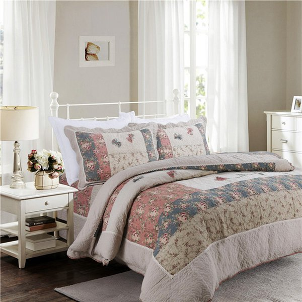 Patchwork Quilt Bedding Sets.Chausub Cotton Patchwork Quilt Set Korean Style Bedspread Bed Cover Quilted Bedding Set Duvet Cover Pillowcase Quilts Blue And White Duvet Bedding