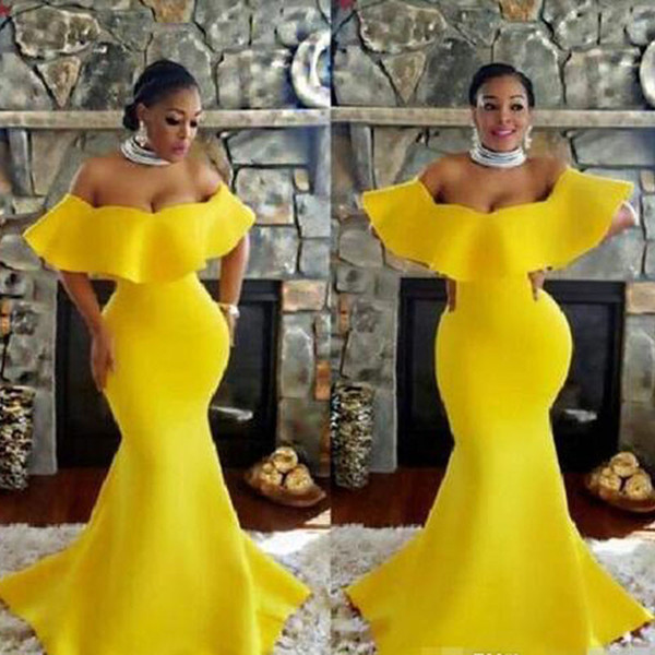 2019 Plus Size Off Shoulder Prom Dresses Bright Yellow Mermaid Evening Gowns Saudi Arabia South African Women Formal Party Dress