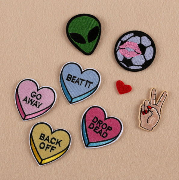 Patches For Clothing Black Nope Heart Patches For Apparel Bags DIY Accessories