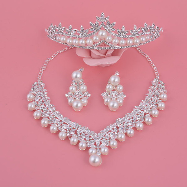 Conjuntos de Jóias de casamento, Auniquestyle Novo Design de Prata Flor De Cristal Pérola Noiva Conjunto Colar Brincos Tiara Coroas Acessórios Para Noivas