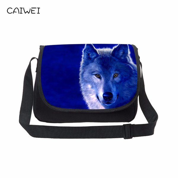 Wolf Colorful Print Men Canvas Messenger s Casual Shoulder Bag Male Daily Crossbody Bags Student School Laptop Bag