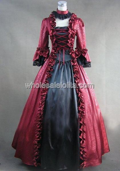 Compre Gótico Rojo Y Negro Vestido De época Victoriana Georgiana Disfraz De Halloween Mascarada Vestido De Fiesta A 13396 Del Duanhu Dhgatecom