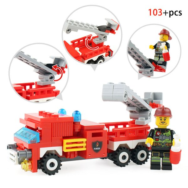 348PCS Fire Fighting Car Helicopter Boat Building Blocks Compatible Legoingly City Firefighter Figure Bricks Toys For Kids Gifts