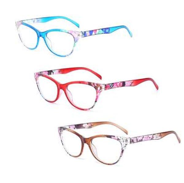 Женщины Кошачий Глаз Очки Для Чтения Старинные Читатель Мода Цветок Печати +1.0-+4.0